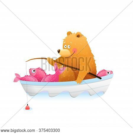 Baby Bear In Boat Fishing With Fishing Rod. Fisherman Bear Cub Happily Smiling With Big Catch Of Fis