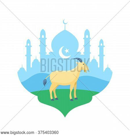 Goat At Mosque Courtyard Vector Flat Illustration For Eid Al Adha The Sacrifice Of Livestock Animal