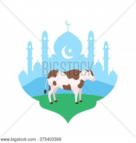 Cow At Mosque Courtyard Vector Flat Illustration For Eid Al Adha The Sacrifice Of Livestock Animal M
