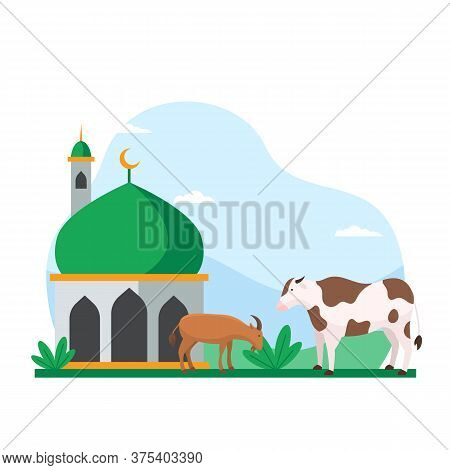 Eid Al Adha Islamic Holiday The Sacrifice Of Livestock Animal Poster Background Design. Cow And Goat