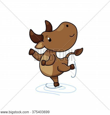Cute Ox Cartoon Character Skating. Cow Vector Illustration On White Background. Friendly Bull Mascot