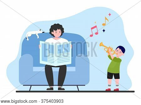 Boy Playing Trumpet At Home. Son Disturbing Father With Noise Flat Vector Illustration. Studying Mus