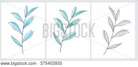 Simple Vector Illustration Of A Blue And Gray Twigs. Watercolor Style Delicate Leaves With Black Lin