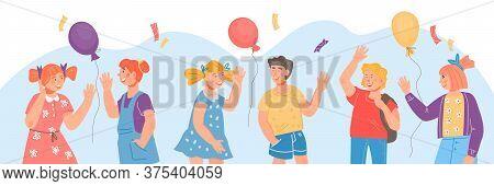 Banner For School Or Kindergarten Year Beginning With Children Vector Illustration.