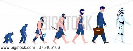 Cartoon Human Evolution Isolated Flat Vector Illustration. Man From Monkey And Caveman To Cyborg Or