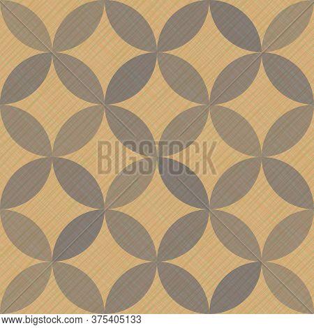 Interlacing Circles Parts Artistic Seamless Vector Pattern. Guatrefoil Flower Gray Diamond Lattice E
