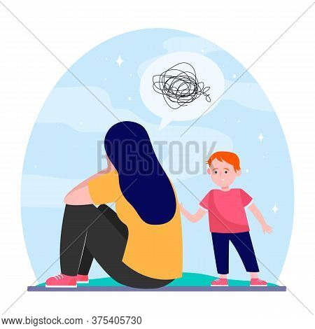 Depressed Mother And Little Son. Upset Boy Talking To Crying Woman. Flat Vector Illustration. Depres