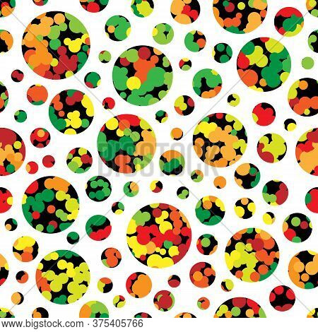 Seamless Pattern Texture With Multi-colored Large And Small Colored Circles