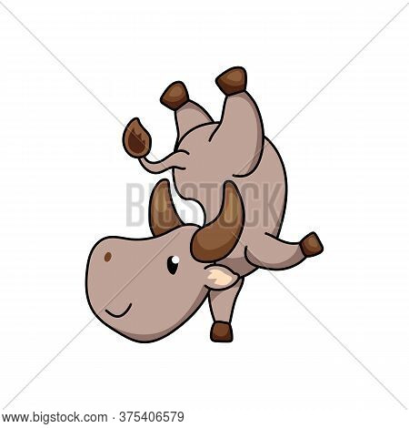 Cute Ox Cartoon Character Stand On Arm. Cow Vector Illustration On White Background. Friendly Bull M