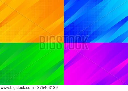Abstract Gradient Orange, Blue, Green And Red Tech Design Pattern With Halftone Artwork Background S