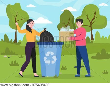 People Placing Reusable Waste Into Dumpster. Men And Woman With Plastic Garbage At Dustbin Flat Vect