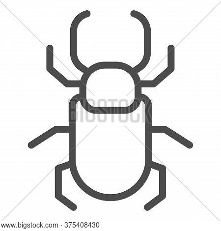 Beetle Stag Line Icon, Insects Concept, Stag-beetle Sign On White Background, Large Beetle With Bran