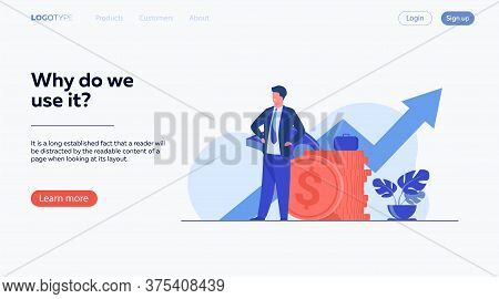 Successful Entrepreneur Or Investor Presenting Stack Of Money And Growth Diagram. Businessman In Sui