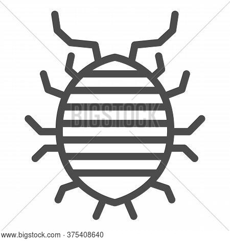 Woodlouse Line Icon, Bugs Concept, Roll Up Bug Sign On White Background, Sowbug Icon In Outline Styl
