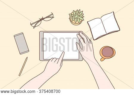 Technology, Mobile, Media, Business Concept. Human Character Hands Using Tablet In Office For Work O