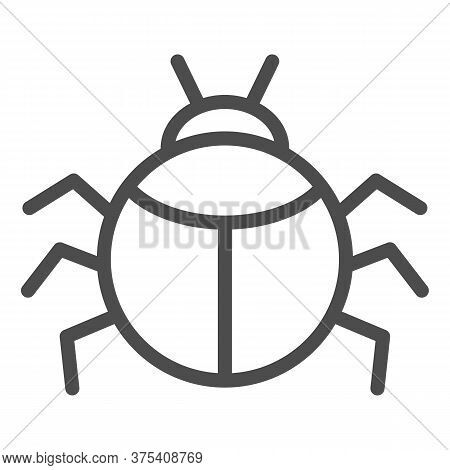 Beetle Line Icon, Insects Concept, Bug Sign On White Background, Round Shaped Beetle Silhouette Icon