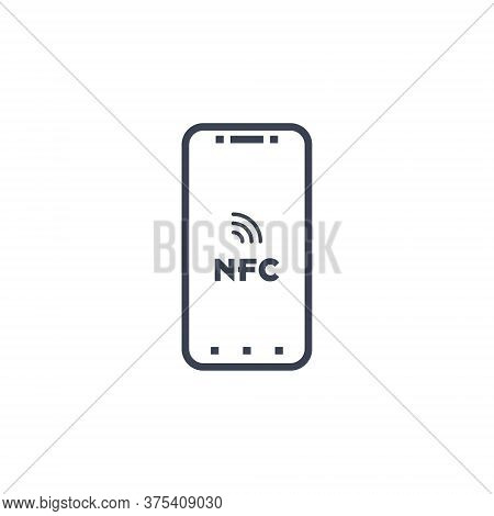 Near Field Communication, Nfc Mobile Phone, Nfc Payment With Mobile Phone Smartphone Flat Vector Ico