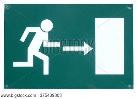 Exit sign running man emergency escape way arrow right