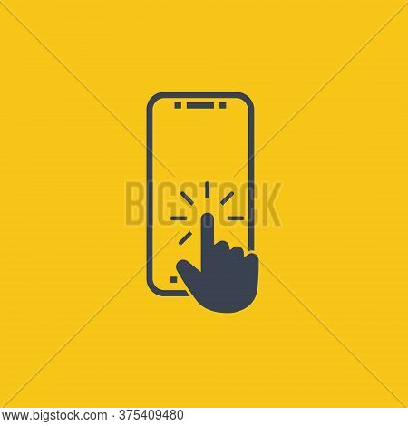 Click Button On Screen Smartphone. Vector Symbol In Flat Style On Orange Background