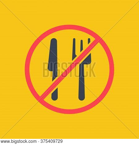 No Eating. Forbidden To Eat. Vector Symbol In Simple Flat Red Color Style