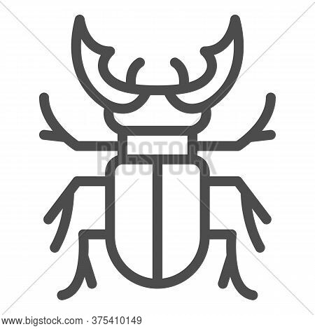 Beetle Stag Line Icon, Bugs Concept, Deer Beetle Sign On White Background, Stag-beetle Icon In Outli