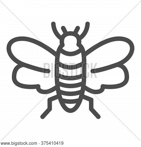 Insect Line Icon, Insects Concept, Bee Sign On White Background, Flying Insect Icon In Outline Style