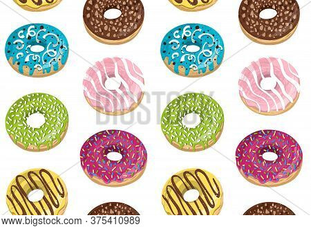 Vector Seamless Pattern With Colorful Donuts. Glaze, Sprinkle And Chocolate Donuts With Hand Drawn T