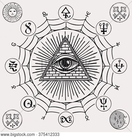 Illustration With An All-seeing Eye, Esoteric And Magical Signs. Hand-drawn Vector Banner In Retro S