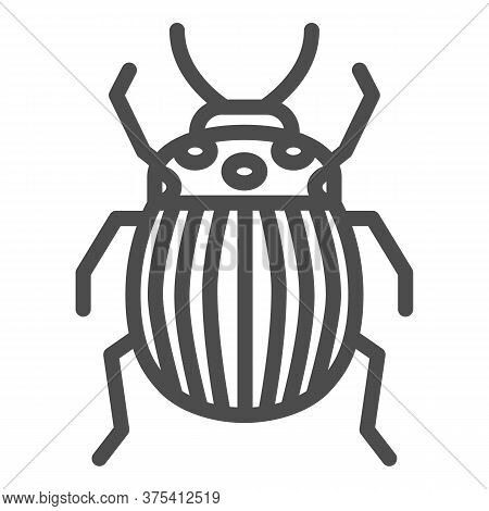 Colorado Potato Beetle Line Icon, Bugs Concept, Striped Beetle Sign On White Background, Potato Or C