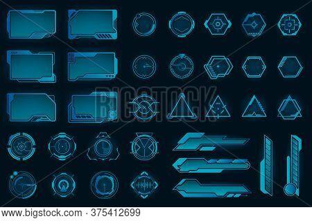 Different Hud Elements Flat Frames Set. Modern Vr User Interface, Dashboard And Infographic Framewor