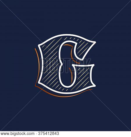 Vintage G Letter Logo With Line Decoration. Classic Serif Lettering. Vector Font Perfect To Use In A