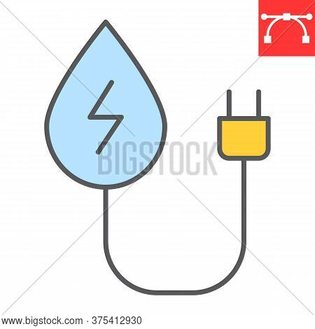 Hydropower Color Line Icon, Energy And Ecology, Water Energy Sign Vector Graphics, Editable Stroke C