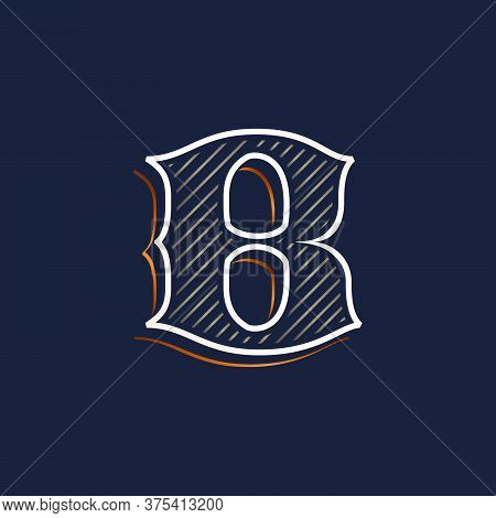 Vintage B Letter Logo With Line Decoration. Classic Serif Lettering. Vector Font Perfect To Use In A