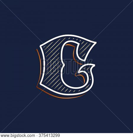 Vintage C Letter Logo With Line Decoration. Classic Serif Lettering. Vector Font Perfect To Use In A