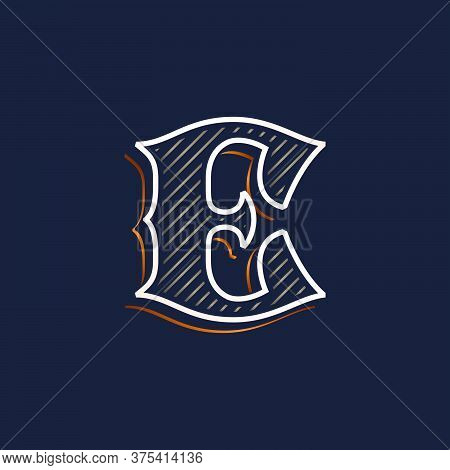Vintage E Letter Logo With Line Decoration. Classic Serif Lettering. Vector Font Perfect To Use In A