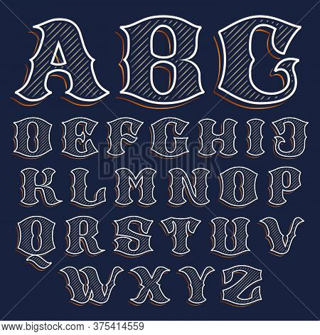 Vintage Alphabet With Line Decoration. Classic Serif Lettering. Vector Font Perfect To Use In Any Al