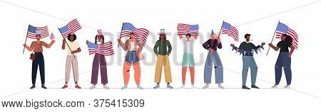 Mix Race People In Festive Hats Holding Usa Flags Celebrating 4th Of July American Independence Day