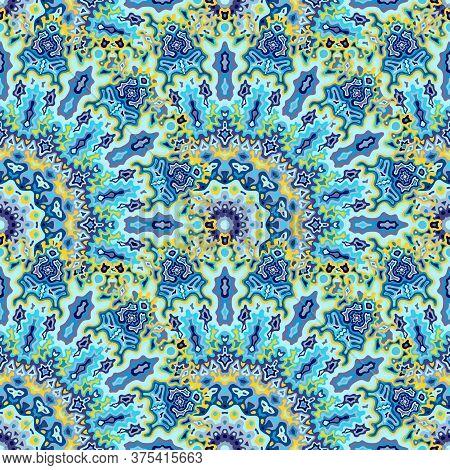Chakra Geometric Seamless Ornament. Hindu Folk Vector Graphic Design. Weave Lollapalooza Kaleidoscop