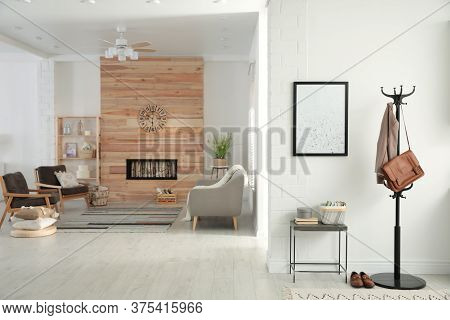 Apartment Interior With Stylish Living Room And Hallway