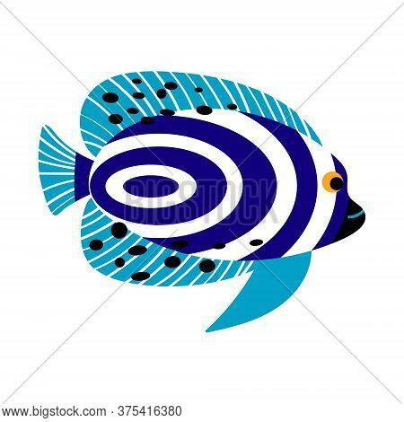 Emperor Angelfish Isolated On White Background. Exotic Underwater Creature. Flat Vector Illustration