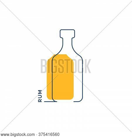Bottle Continuous Line Rum In Linear Style On White Background. Black Thin Outline And Color Fill. M