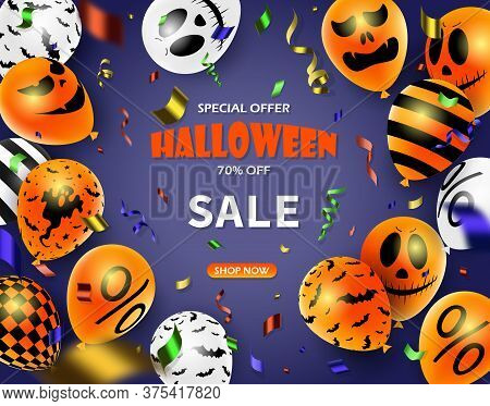 Halloween Sale Promotion Poster With Halloween Candy And Halloween Ghost Balloons. Great For Voucher