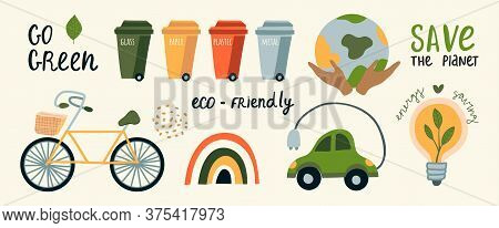 Vector Ecological Car, Bike, Garbage Sorting Tanks. Respect For Nature, Zero Waste, Green, Rainbow.