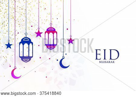 Eid Mubarak Festival Greeting With Lamps And Moon