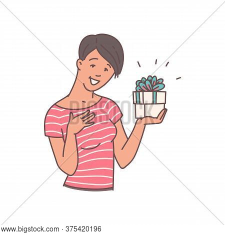 Happy Woman Holding Gift Box With Surprised And Grateful Face