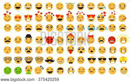 Sad And Happy Emoticons Set. Smiling, Laughing, Crying, Angry, Furious, Unhappy, Smart Cartoon Yello