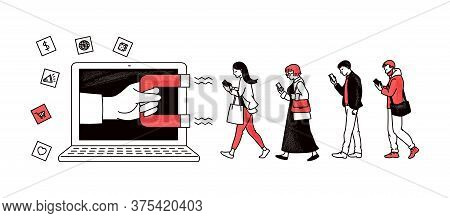Inbound Marketing With Magnet Attracting People Sketch Vector Illustration.