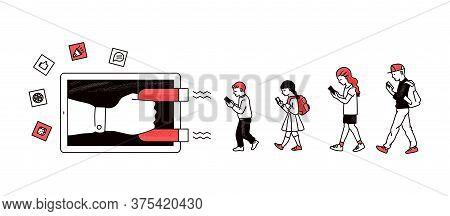Inbound Digital Marketing Banner - Magnet Pulling Cartoon Children