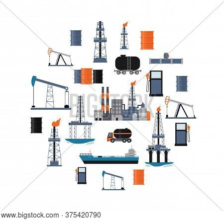 Oil Industry Poster With Factory Buildings, Drilling Machinery And Transport