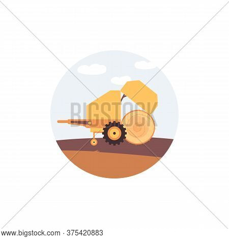 Round Hay Baler Rolling Bale On Field - Yellow Farm Machinery Trailer